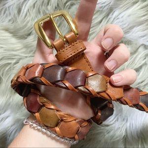 Accessories - Leather multicolored chain braid belt